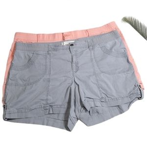 Sonoma Mid Rise Pink & Grey 2Pc Shorts Size 24W